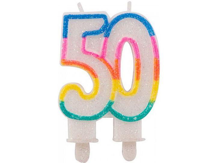 Zahlenkerze 50 mit Glitzer