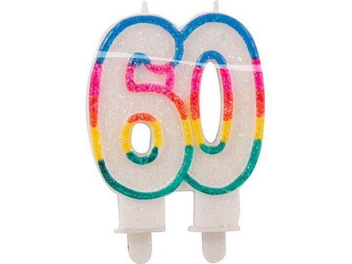 Zahlenkerze 60 mit Glitzer