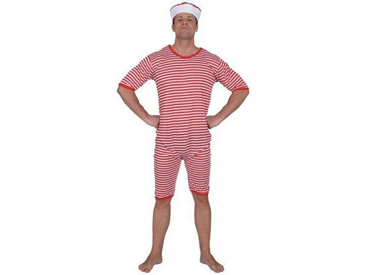 Badeanzug rot-weiß Gr. L