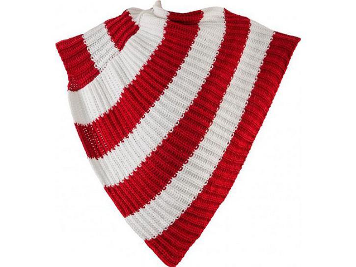 Poncho rot-weiß gestrickt