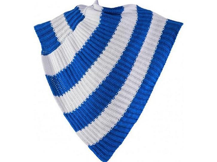 Poncho blau-weiß gestrickt