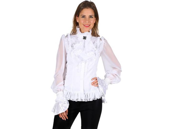 Bluse Damen weiß mit Jabot Gr. XL