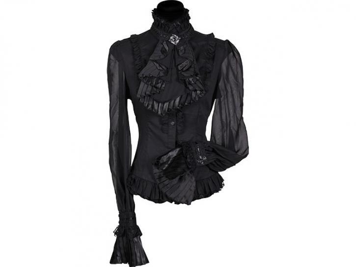 Bluse Damen schwarz mit Jabot Gr. S