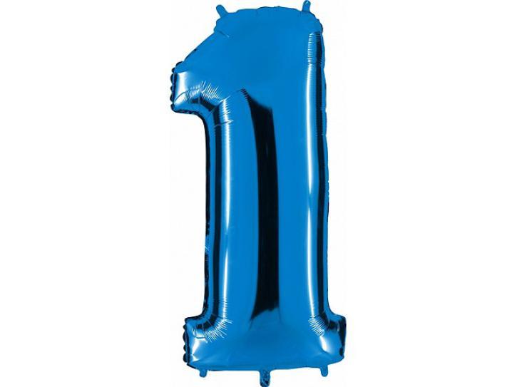Folienballon Zahl 1 blau