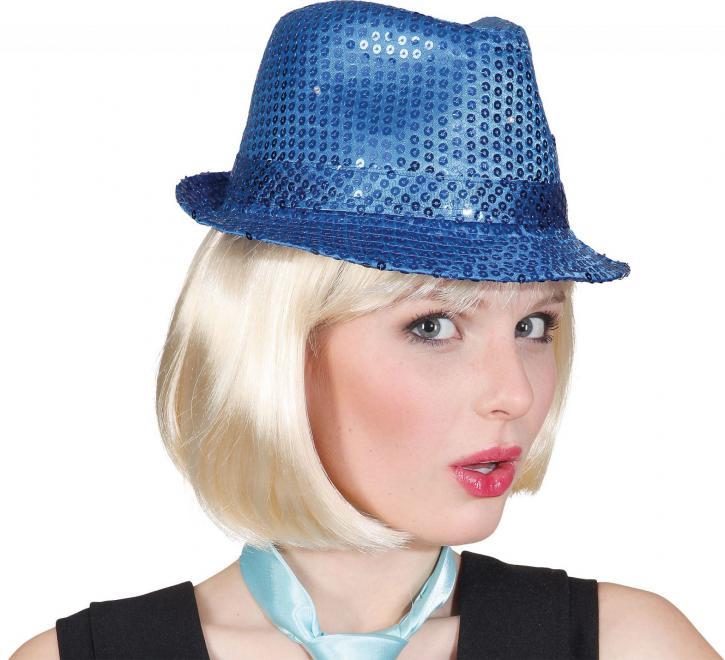 Hut Discoqueen Pailletten blau