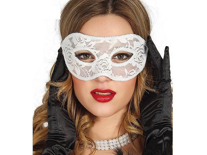 Maske mit Spitze weiß