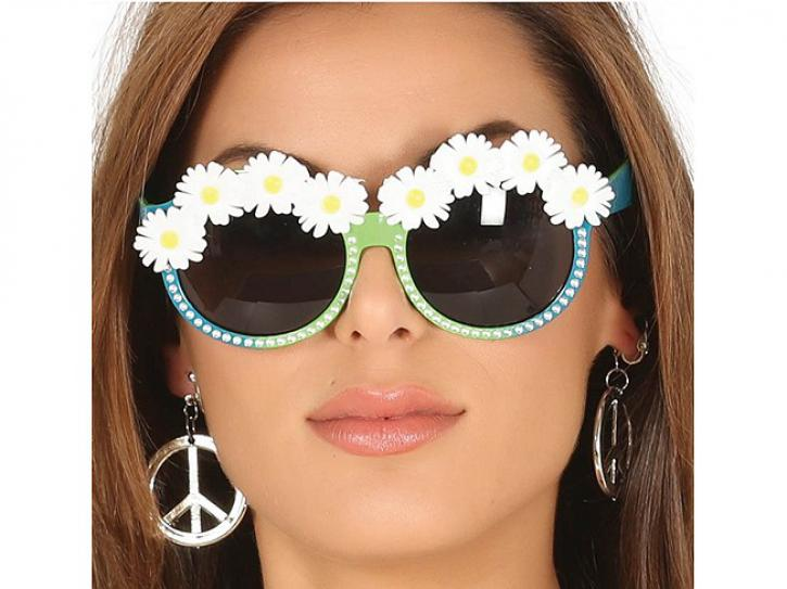Brille Hippie mit Blumen