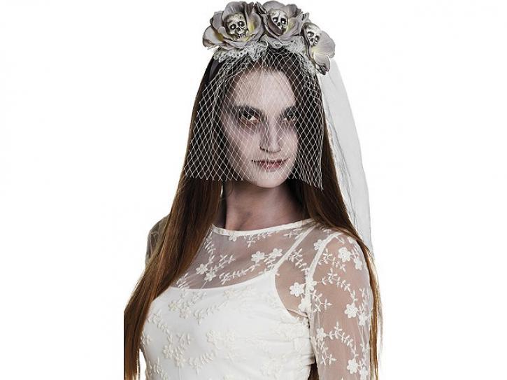 Haarreif Schleier und Blumen Zombie grau
