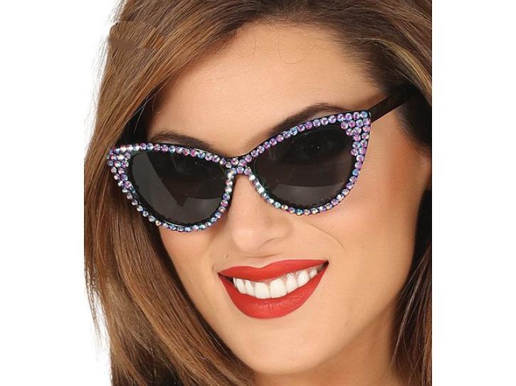 Brille 50-er mit Strass violett