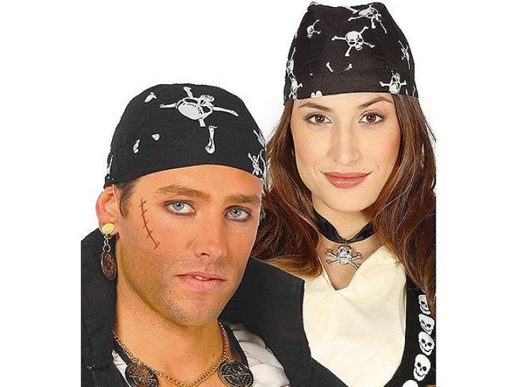 Piratentuch schwarz mit Totenkopf