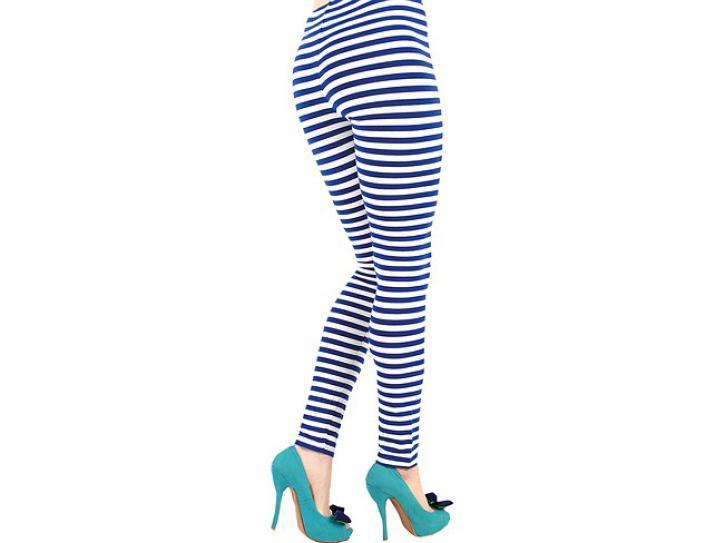 Leggings blau-weiß geringelt S/M