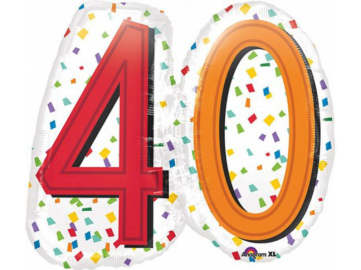 Folienballon Rainbow Birthday 40