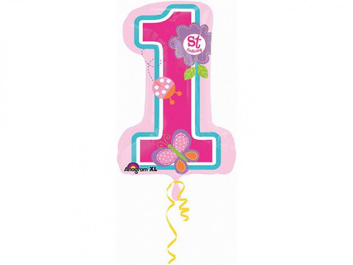 Folienballon 1. Birthday Baby Girl