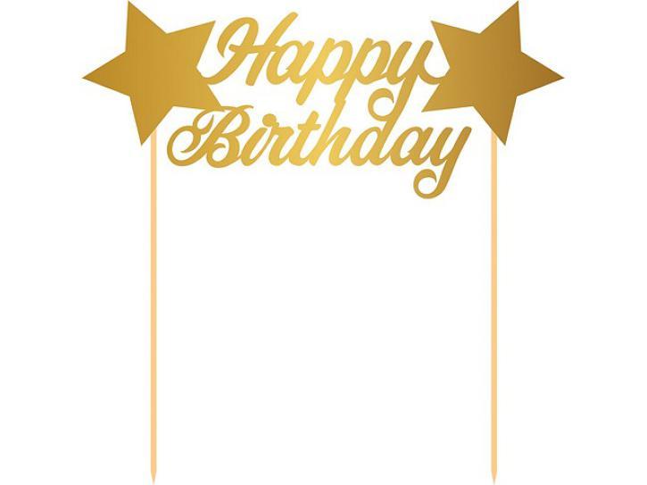 Aufstecker Happy Birthday gold