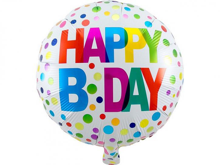 Folienballon bunt Happy B Day 45cm