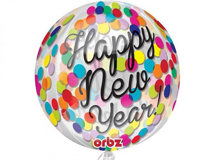 Folienballon Happy New Year bunt