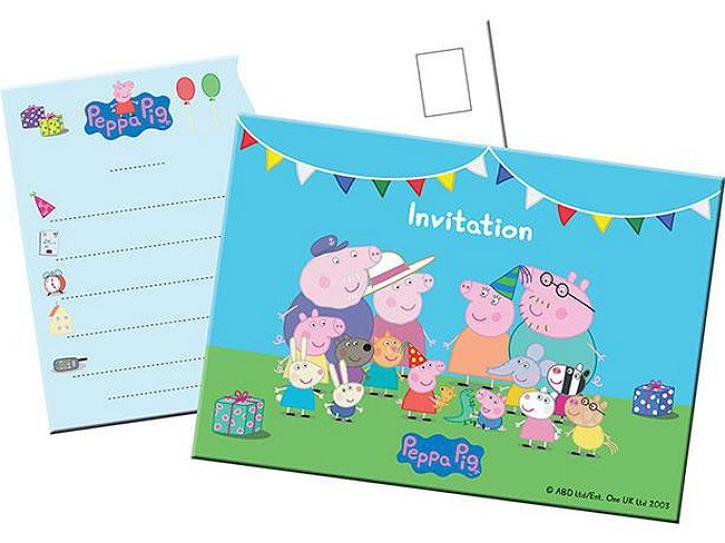 Einladungskarten Peppa Pig 8 Stk.