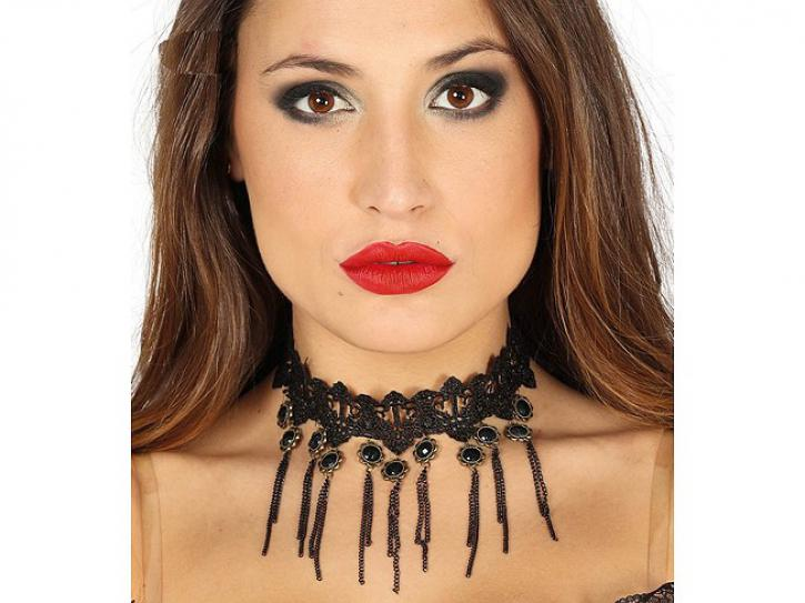 Halskette schwarz mit Spitze