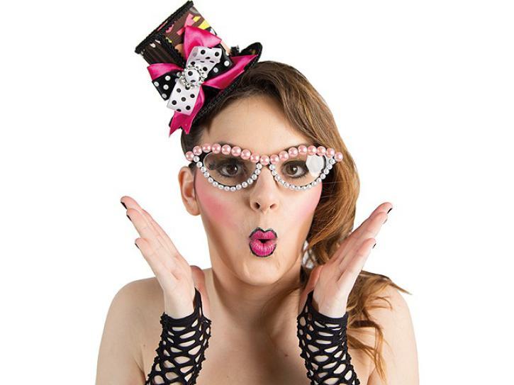 Brille Perlen rosa-silber