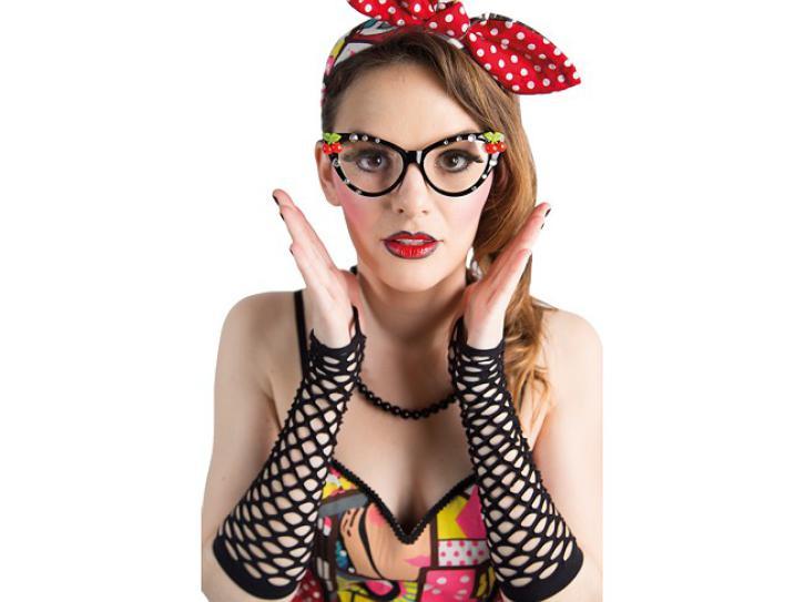 Brille Fifties schwarz mit Strass