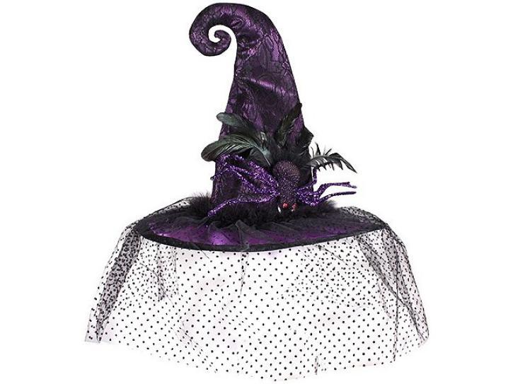 Hut Hexe lila mit Spinne und Schleier