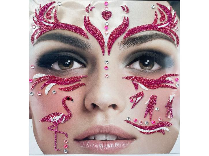 Gesichts-Tattoo Flamingo