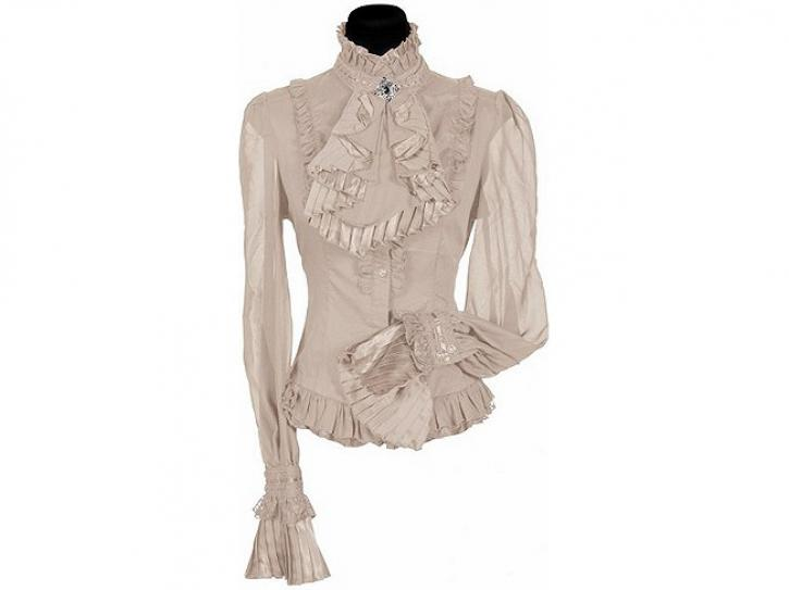 Bluse Damen ecru mit Jabot Gr. XL