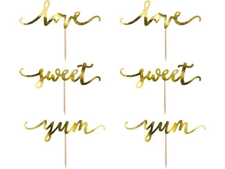 Tortentopper love gold 6 Stck
