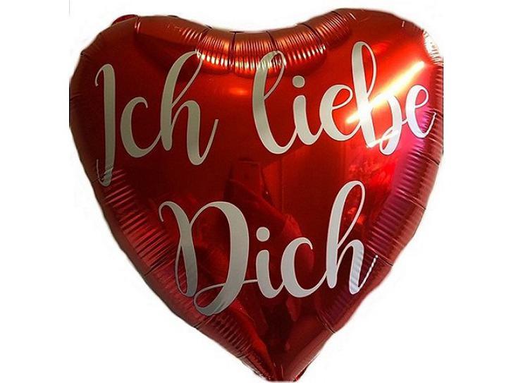 Folienballon Herz rot  Ich liebe Dich
