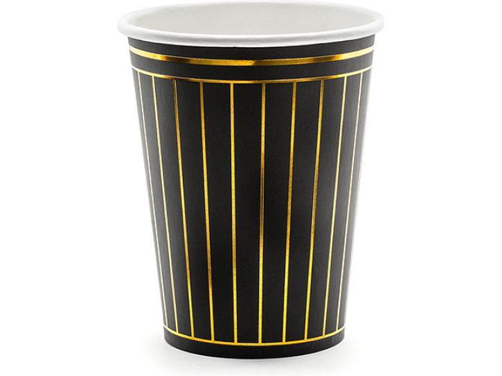 Becher schwarz mit goldenen Streifen 6 Stk.