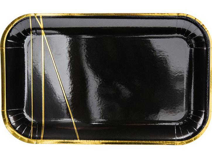 Teller rechteckig schwarz mit gold 6 Stk.