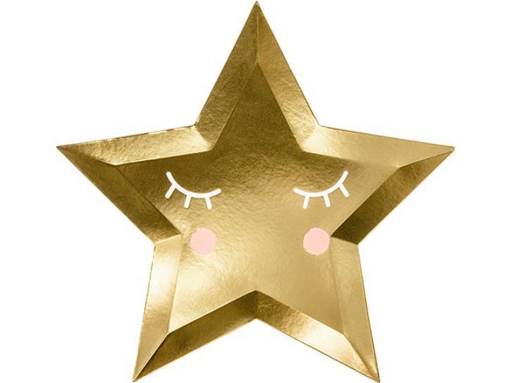 Teller Sternform mit Gesicht 6 Stk.