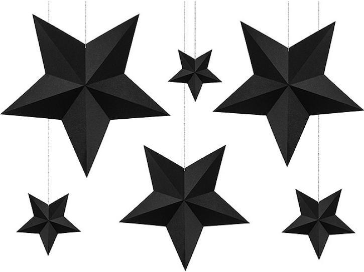 Dekoration hängend Sterne schwarz 6 Stk.