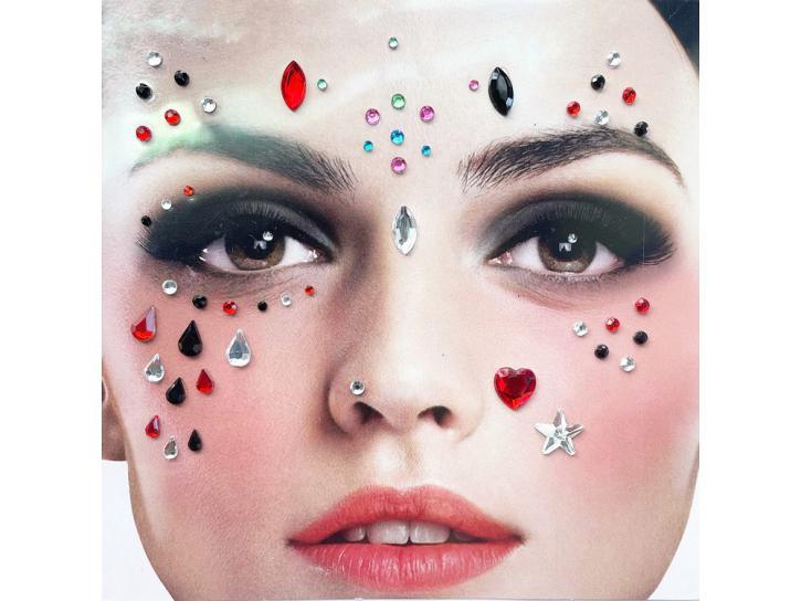 Gesichts-Tattoo Steine bunt