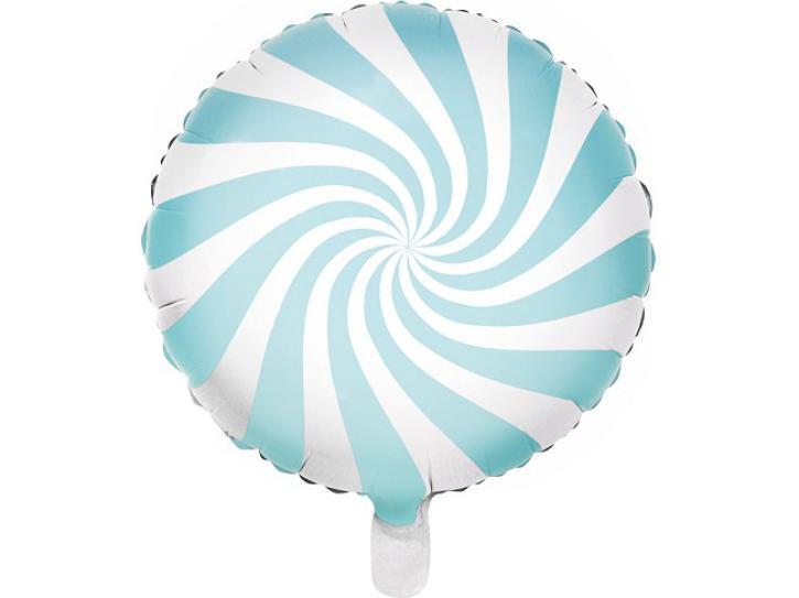 Folienballon Candy Swirl hellblau/weiß