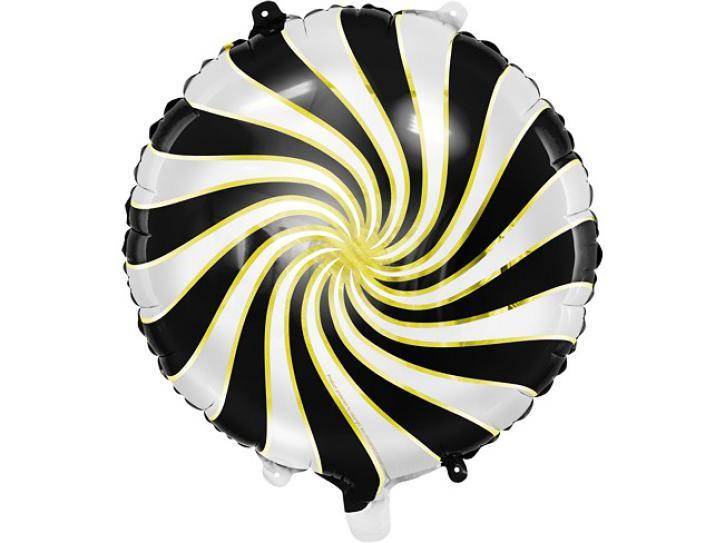 Folienballon Candy Swirl schwarz/gold/weiß