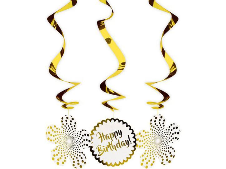 Dekospiralen Happy Birthday gold 3 Stk.