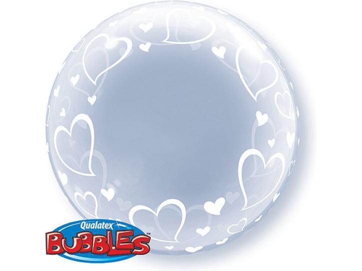Ballon Bubble transparent 24 Hearts