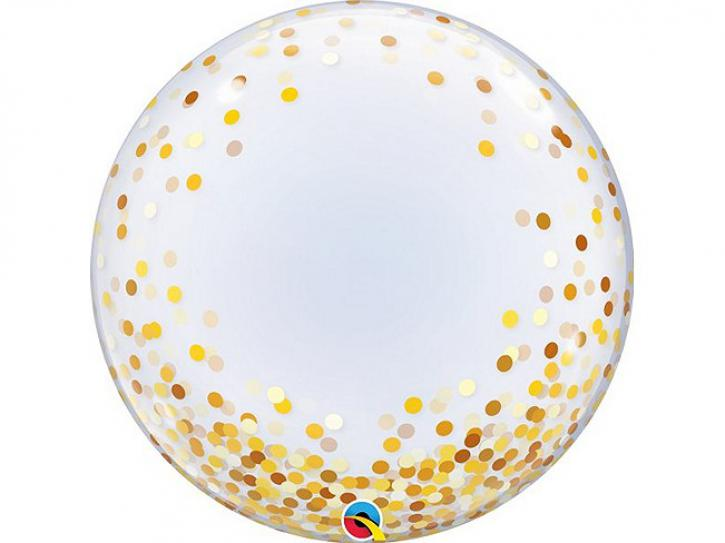 Ballon Bubble transparent 24 Gold Confetti