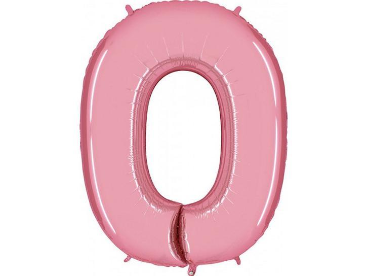 Folienballon Zahl 0 rosa