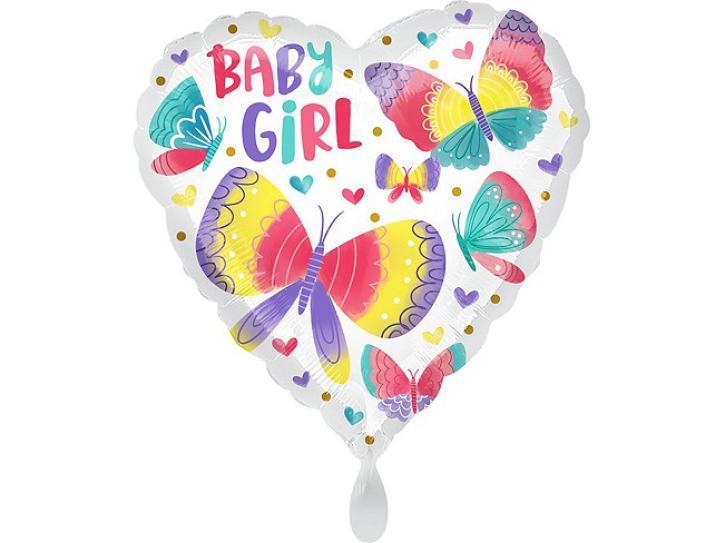 Folienballon Baby Girl Schmetterlinge