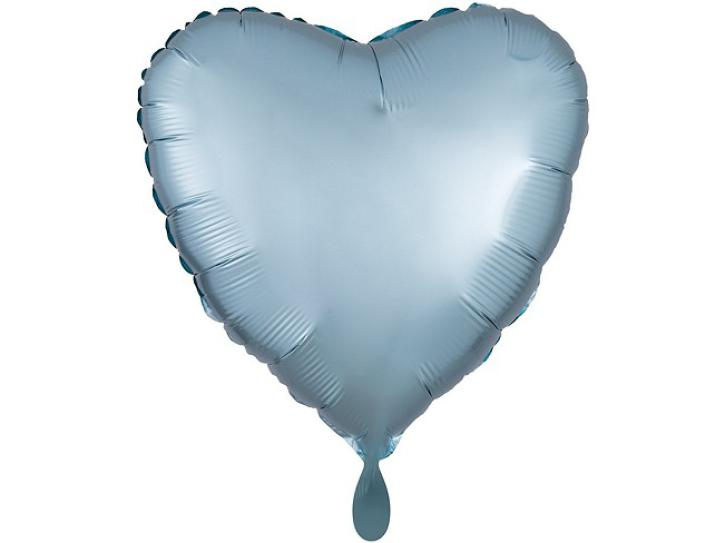 Folienballon Herz blau Satin 43 cm