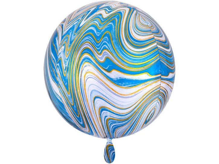 Folienballon Orbz blau gold Marblez 16
