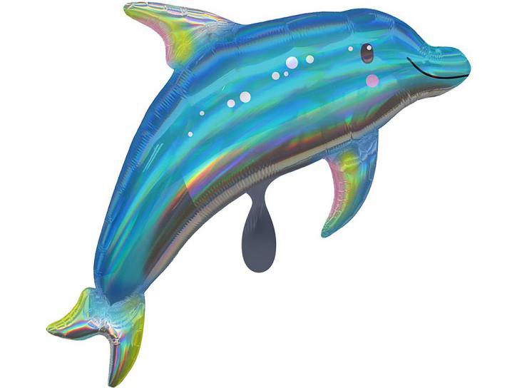Folienballon Delfin irisierend