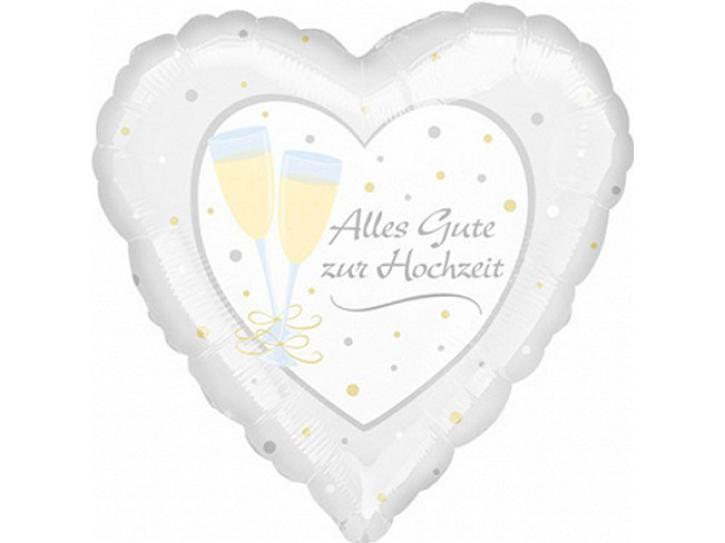 Folienballon Herz Alles Gute zur Hochzeit