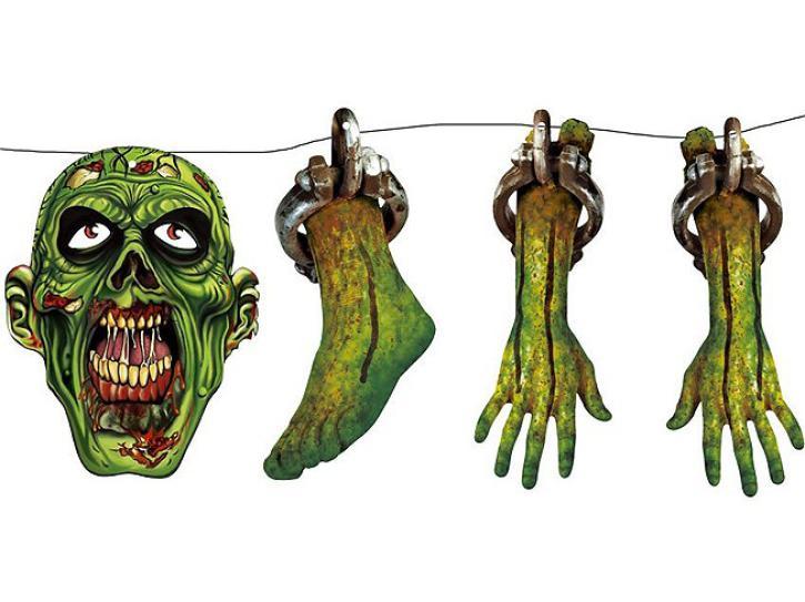 Girlanda Zombie grün 150 cm lang