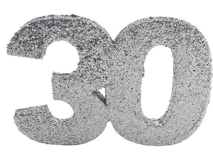 Styropor-Glimmerzahl 30 silber