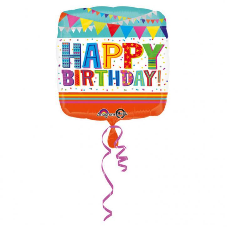 Folienballon bunt Happy Birthday