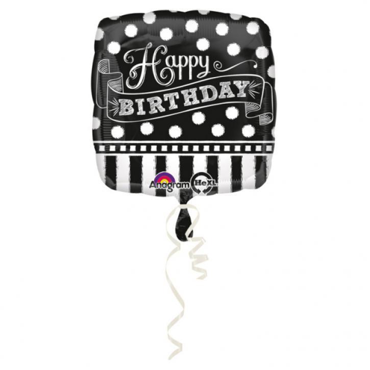 Folienballon Chalkboard Birthday schwarz/weiß
