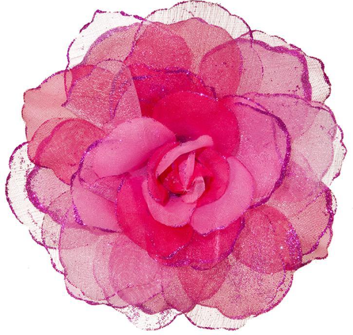 Ansteckblume pink mit glitzer